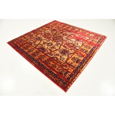 Figueroa Gold/Red Area Rug Rug Size: Square 6