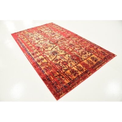 Figueroa Gold/Red Area Rug Rug Size: Rectangle 5 x 8
