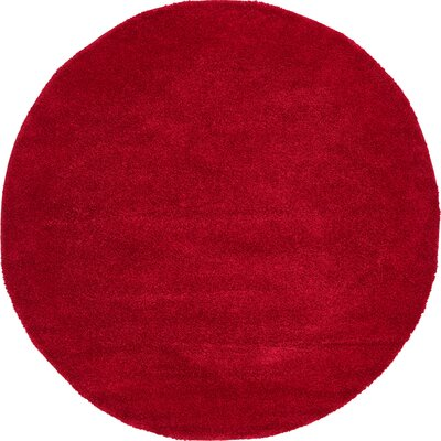 Sydnee Red Area Rug Rug Size: Round 8
