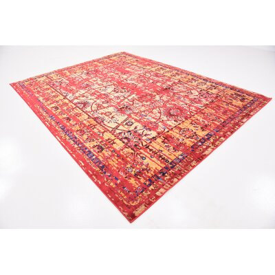 Figueroa Gold/Red Area Rug Rug Size: Rectangle 8 x 10