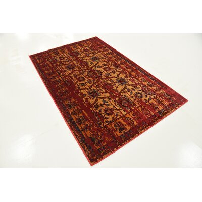 Figueroa Gold/Red Area Rug Rug Size: 10 x 13