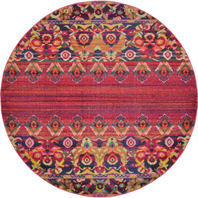 Rialto Red Area Rug Rug Size: Round 8