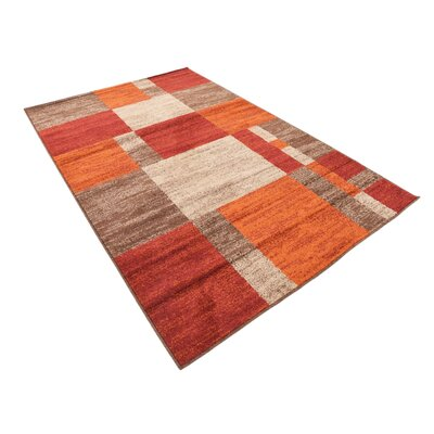 Bryan Burgundy/Orange Area Rug Rug Size: Rectangle 5 x 8