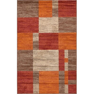 Bryan Burgundy/Orange Area Rug Rug Size: 5 x 8
