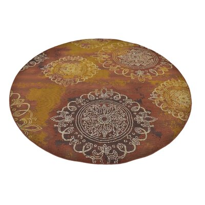 Victoria Yellow/Brown Indoor/Outdoor Area Rug Rug Size: Round 8