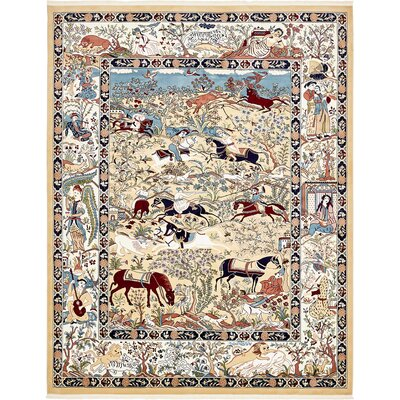 Amrane Tan/Blue Area Rug Rug Size: Rectangle 8 x 10