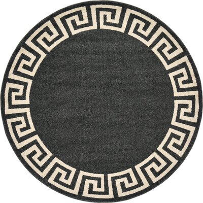 Cendrillon Charcoal Area Rug Rug Size: Round 6