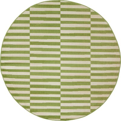 Braxton Grass Green/White Area Rug Rug Size: Round 5