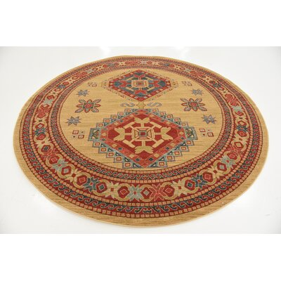 Valley Light Brown Area Rug Rug Size: Round 8'