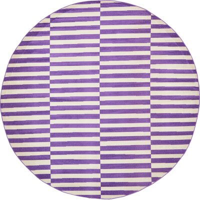 Braxton Purple Area Rug Rug Size: Round 8