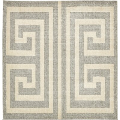 Ellery Geometric Gray Area Rug Rug Size: Square 8