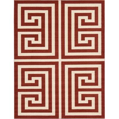 Cendrillon Geometric Terracotta Area Rug Rug Size: 9 x 12
