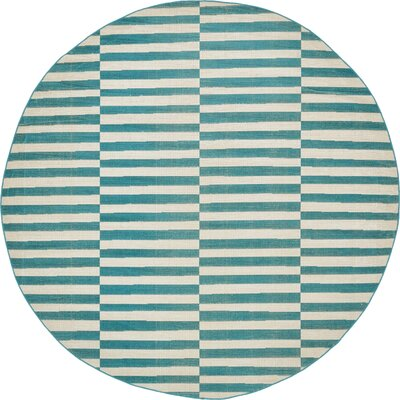 Braxton Teal Area Rug Rug Size: Round 8