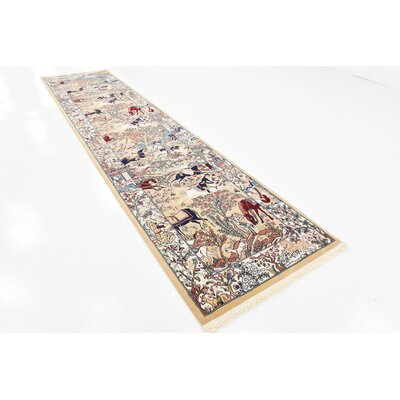 Amrane Tan/Blue Area Rug Rug Size: Runner 3 x 13
