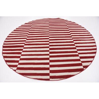 Braxton Red/White Area Rug Rug Size: Round 8