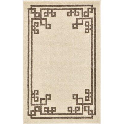 Ellery Rectangle Beige Area Rug Rug Size: 33 x 53
