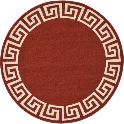 Padstow Terracotta Area Rug Rug Size: Round 6