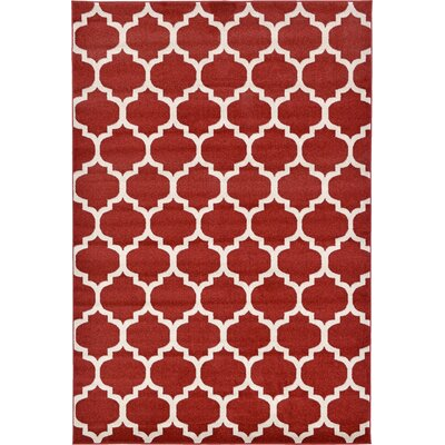 Moore Red Area Rug Rug Size: Rectangle 6 x 9