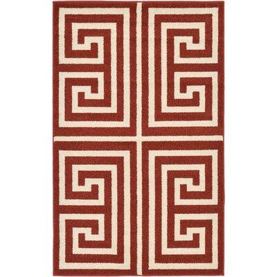 Cendrillon Geometric Terracotta Area Rug Rug Size: 33 x 53