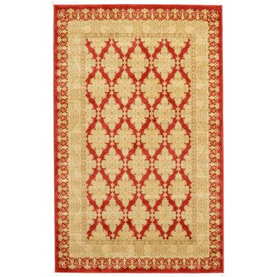 Fonciere Red/Beige Area Rug Rug Size: 5 x 8