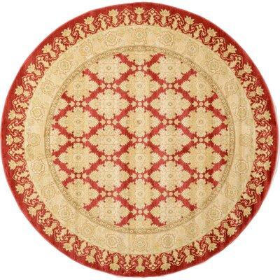Fonciere Red/Beige Area Rug Rug Size: Round 8