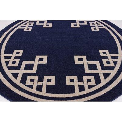 Ellery Dark Blue Area Rug Rug Size: Round 8