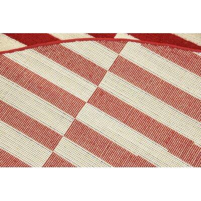 Braxton Red/White Area Rug Rug Size: Round 5
