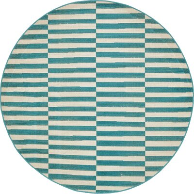 Braxton Teal Area Rug Rug Size: Round 5