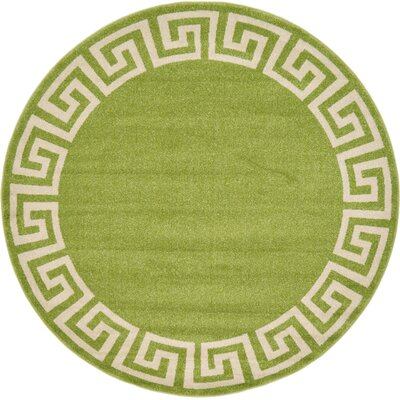 Cendrillon Light Green Area Rug Rug Size: Round 6