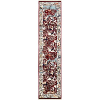 Amrane Burgundy/Tan Animal Print Area Rug Rug Size: Runner 3 x 13
