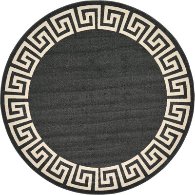 Padstow Black Area Rug Rug Size: Round 8