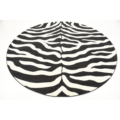 Leif Black Area Rug Rug Size: Round 8
