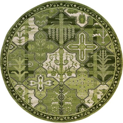 Irma Green Area Rug Rug Size: Round 8