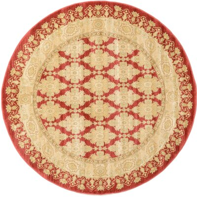 Fonciere Red/Beige Area Rug Rug Size: Round 6