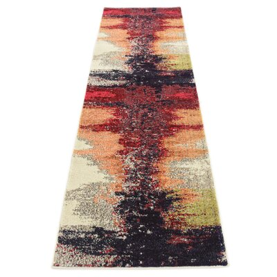 Ned Orange Abstract Area Rug Rug Size: 33 x 53