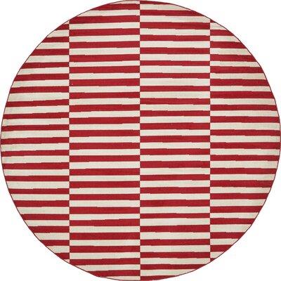 Braxton Red Area Rug Rug Size: Round 8