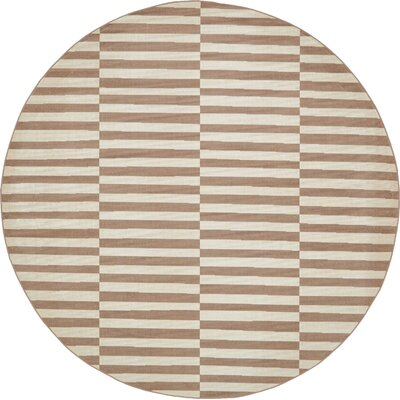 Braxton Light Brown Area Rug Rug Size: Round 8