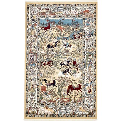 Amrane Tan/Blue Area Rug Rug Size: Rectangle 5 x 8