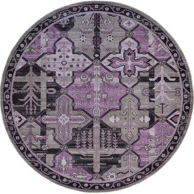 Irma Purple Area Rug Rug Size: Round 8