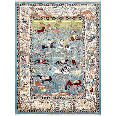 Figuig Blue/Ivory Area Rug Rug Size: Rectangle 13 x 198