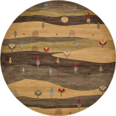 Jan Tan Abstract Area Rug Rug Size: Round 8