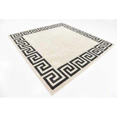 Ellery Beige/Black Area Rug Rug Size: Square 8