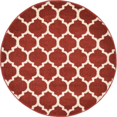 Moore Red Area Rug Rug Size: Round 3'3