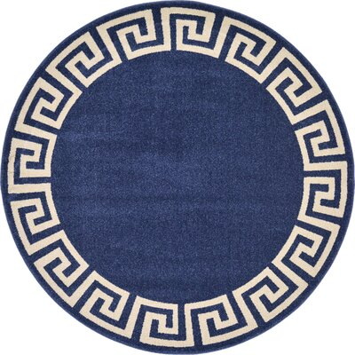 Gedrie Navy Blue Area Rug Rug Size: Round 6