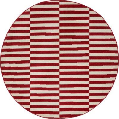 Braxton Red Area Rug Rug Size: Round 5