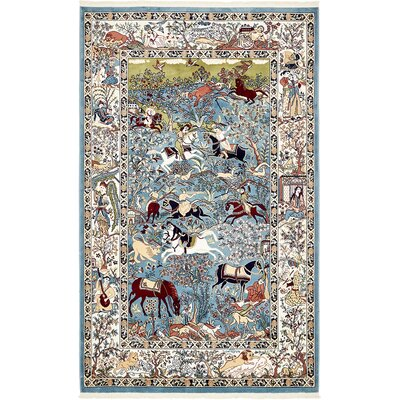 Figuig Blue/Ivory Area Rug Rug Size: Rectangle 5 x 8