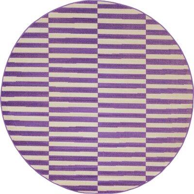 Braxton Purple Area Rug Rug Size: Round 5