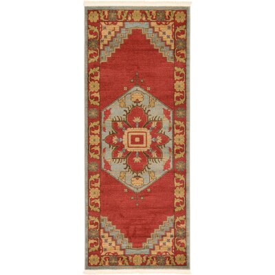Jana Red Oriental Area Rug Rug Size: Rectangle 67 x 27
