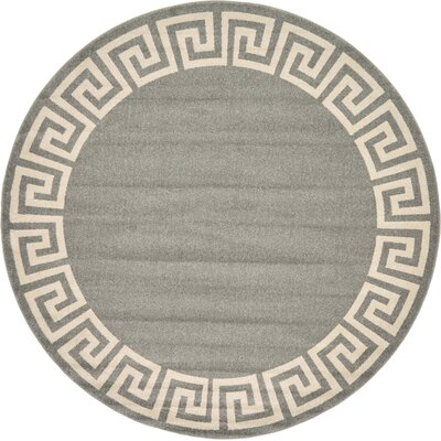Gedrie Gray Area Rug Rug Size: Round 6