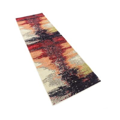 Ned Orange Abstract Area Rug Rug Size: Runner 22 x 66